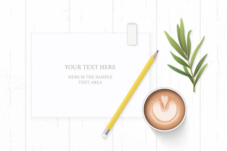 Flat lay top view elegant white composition yellow pencil eraser coffee and tarragon leaf on wooden background. Ilustracja