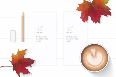 Flat lay top view elegant white composition paper autumn maple leaf coffee and pencil eraser on wooden background.