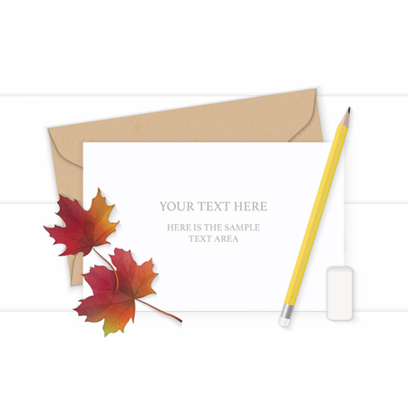 Flat lay top view elegant white composition letter kraft paper envelope yellow pencil autumn maple leaf and eraser on wooden background.