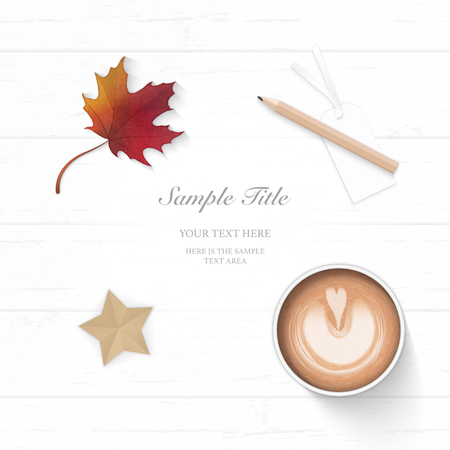 Flat lay top view elegant white Christmas composition paper autumn maple leaf pencil coffee and star shape craft on wooden background.