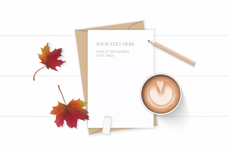 Flat lay top view elegant white composition letter kraft paper envelope autumn maple leaf pencil eraser and coffee on wooden background.