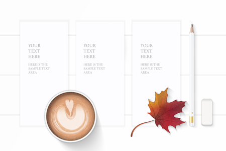 Flat lay top view elegant white composition paper pencil eraser autumn maple leaf and coffee on wooden background.
