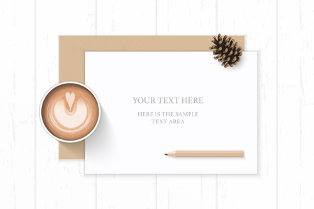 Flat lay top view elegant white composition paper kraft envelope pine cone coffee and pencil on wooden background. Ilustração