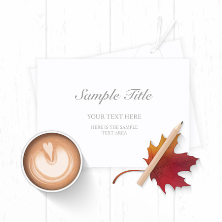 Flat lay top view elegant white Christmas composition paper pine cone pencil autumn maple leaf tag and coffee on wooden background. Ilustração