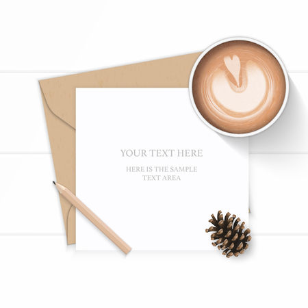 Flat lay top view elegant white composition letter kraft paper envelope pencil pine cone and coffee on wooden background.