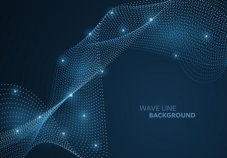 Futuristische abstrakte Wellenpunktverlaufslinie und beleuchteter Lichtball-Vorlagenhintergrund. Idee sowohl für Print- als auch für Web-Promotion-Design.