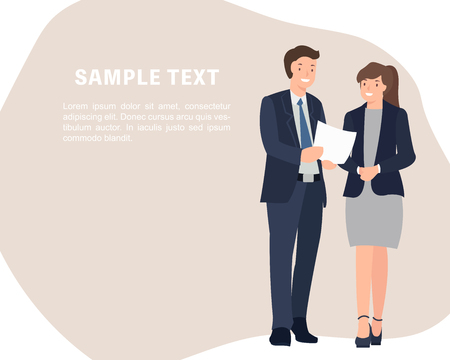 Cartoon people character design banner template business man and woman standing talking cheerfully. Ideal for both print and web design. Stock Illustratie