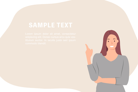 Cartoon people character design banner template woman introducing something cheerfully. Ideal for both print and web design.