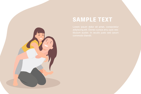 Cartoon people character design banner template mother and child having fun and giving piggyback. Ideal for both print and web design.