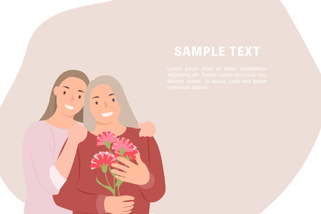 Cartoon people character design banner template happy mothers day young daughter and mother with carnation flowers in hand. Ideal for both print and web design.