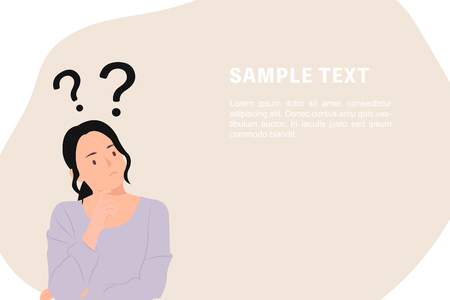 Cartoon people character design banner template question marks with young Asian woman in a thoughtful pose. Ideal for both print and web design. Illustration