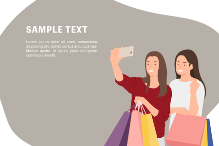 Cartoon people character design banner template female friends shopping and taking selfie photos happily. Ideal for both print and web design. Standard-Bild - 119200697