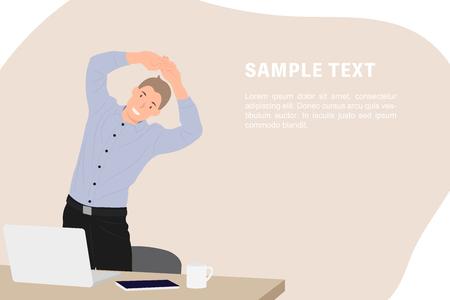 Empresario de plantilla de banner de diseño de personajes de personas de dibujos animados haciendo ejercicio durante el descanso junto a la mesa de trabajo en la oficina. Ideal tanto para impresión como para diseño web.