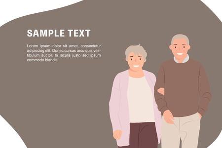 Cartoon people character design banner template elderlyl couple looking at camera with smiling face. Ideal for both print and web design.