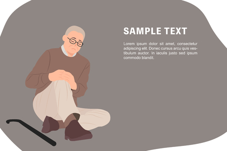Cartoon people character design banner template senior old man sitting on the floor and holding his painful knee. Ideal for both print and web design.