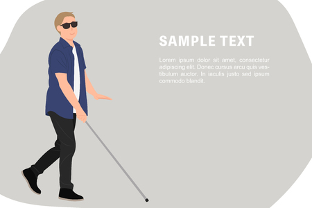 Cartoon people character design banner template blind young man walk with a walking cane. Ideal for both print and web design.