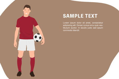 Cartoon people character design banner template a soccer player holding a football in red sportswear. Ideal for both print and web design. Vector Illustration