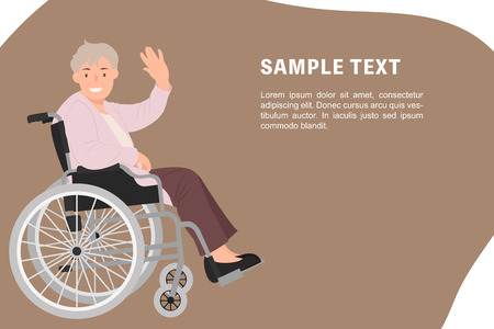 Cartoon people character design banner template senior woman in a wheelchair waving hand with a smiling face. Ideal for both print and web design.