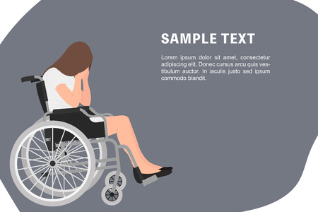 Cartoon people character design banner template sad young disabled woman sitting in a wheel chair with both hands covering her face. Ideal for both print and web design. Ilustração