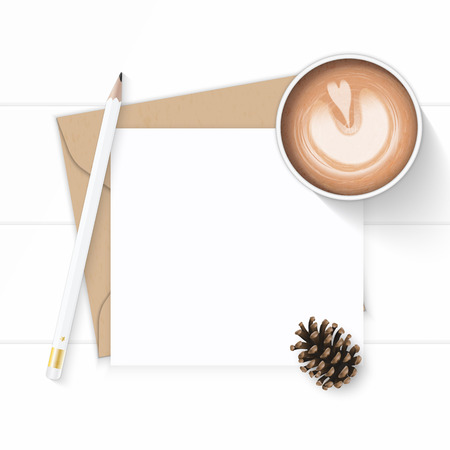 Flat lay top view elegant white composition letter, kraft paper envelope, pencil, pine cone and coffee on wooden background.