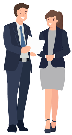 Cartoon people character design business man and woman standing talking cheerfully. Ideal for both print and web design.