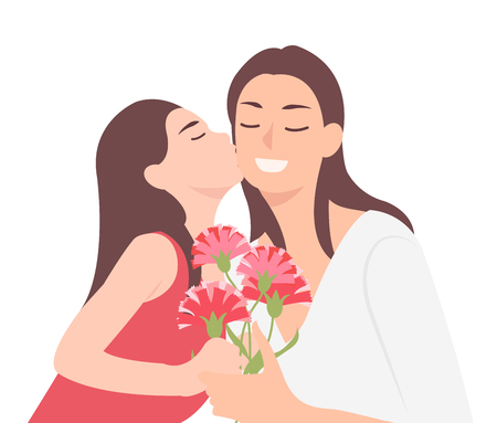 Cartoon people character design happy mothers day child daughter kissing mom and giving her carnation flower as a present. Ideal for both print and web design.