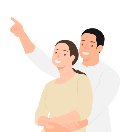 Cartoon people character design cheerful husband embracing his wife and pointing at something. Ideal for both print and web design. Stock Illustratie