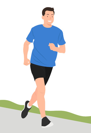 Cartoon people character design young man jogging happily. Ideal for both print and web design.