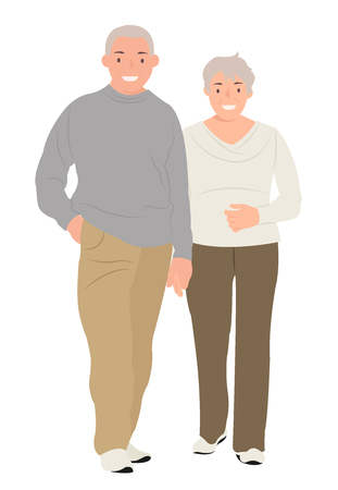 Cartoon people character design senior couple holding hands. Ideal for both print and web design.