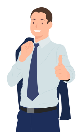 Cartoon people character design handsome businessman with jacket cross over shoulder while showing thumbs up. Ideal for both print and web design.