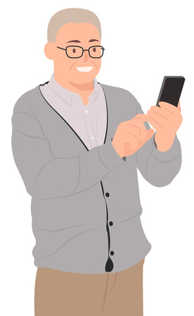 Cartoon people character design senior old man looking at smart phone happily. Ideal for both print and web design.