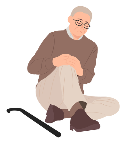 Cartoon people character design senior old man sitting on the floor and holding his painful knee. Ideal for both print and web design.