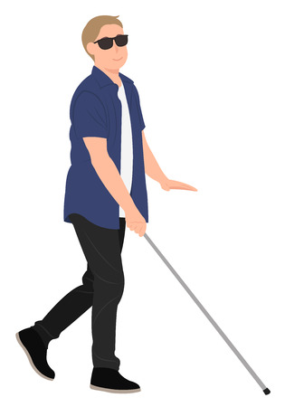 Cartoon people character design blind young man walk with a walking cane. Ideal for both print and web design. Ilustração