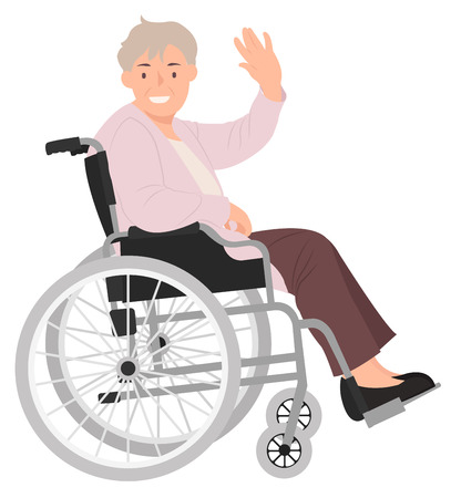 Cartoon people character design senior woman in a wheelchair waving hand with a smiling face. Ideal for both print and web design.