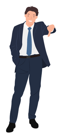 Cartoon people character design handsome young businessman showing thumb down sign with smiling face. Ideal for both print and web design.