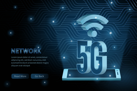 5G technology geometry cross frame line vector futuristic illustration template background with glowing dot. Concept of wireless high speed internet connection.