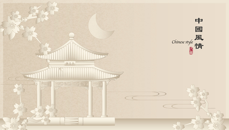 Elegant retro Chinese style background template countryside landscape of architecture pavilion building and sakura cherry blossom flower. Translation for the Chinese word : Chinese style landscape