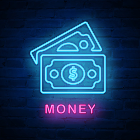 Vector illuminated neon light icon sign money banknote. Ideal for both print and web design.