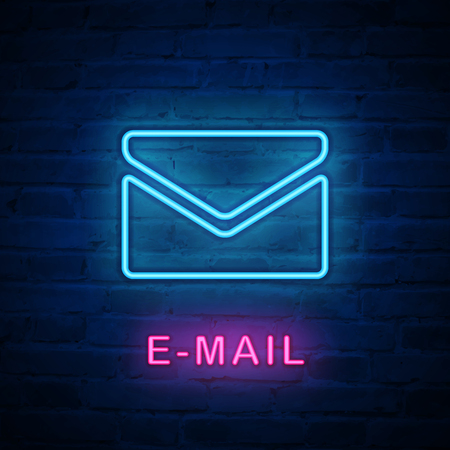 Vector illuminated neon light icon sign email envelope. Ideal for both print and web design.