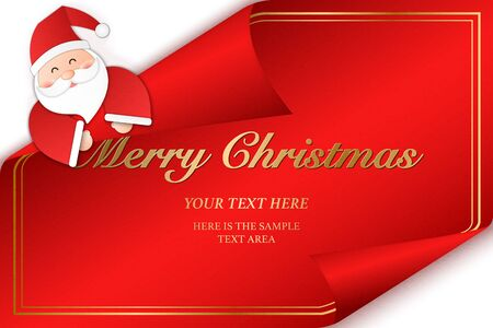 Relief paper art of Santa Claus pop from the back of a greeting card. Merry Christmas and happy new year vector clip illustration. Ilustrace