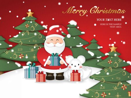 Relief paper art of Santa Claus cute mouse holding present gifts with Christmas tree background. Merry Christmas and happy new year vector clip illustration. Ilustrace