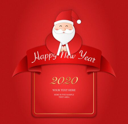 Relief paper art of Santa Claus and ribbon banner template. Merry Christmas and happy new year vector clip illustration.