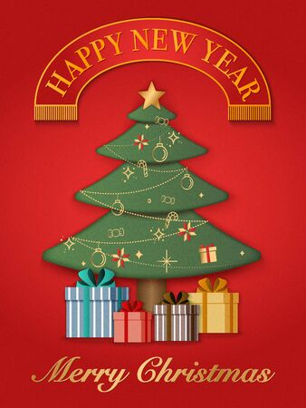 Relief paper art of Christmas and present gifts. Merry Christmas and happy new year vector clip illustration.