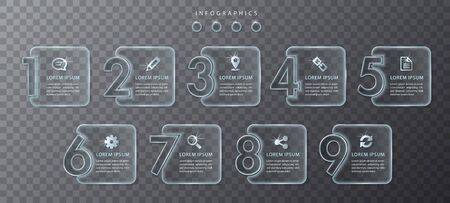 Vector infographic design UI template transparent glass number labels and icons. Ideal for business concept presentation banner workflow layout and process diagram.