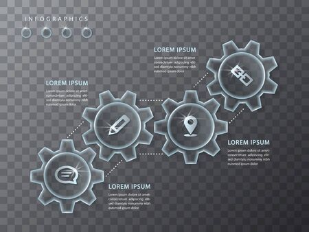 Vector infographic design UI template transparent glass gear wheel and icons. Ideal for business concept presentation banner workflow layout and process diagram. Ilustrace