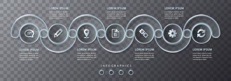 Vector infographic design UI template transparent glass round cross frame labels and icons. Ideal for business concept presentation banner workflow layout and process diagram.