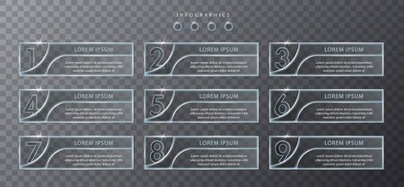 Vector infographic design UI template transparent glass labels and icons. Ideal for business concept presentation banner workflow layout and process diagram.