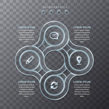 Vector infographic design UI template transparent glass round chain frame labels and icons. Ideal for business concept presentation banner workflow layout and process diagram.