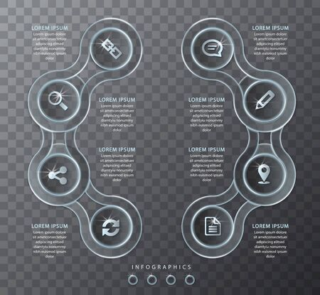 VVector infographic design UI template transparent glass round spiral cross chain abels and icons. Ideal for business concept presentation banner workflow layout and process diagram. Ilustrace