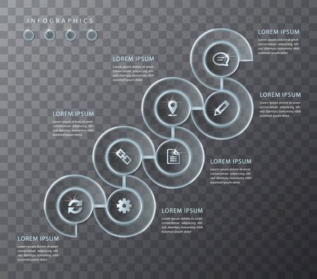 Vector infographic design UI template transparent glass round spiral frame labels and icons. Ideal for business concept presentation banner workflow layout and process diagram.